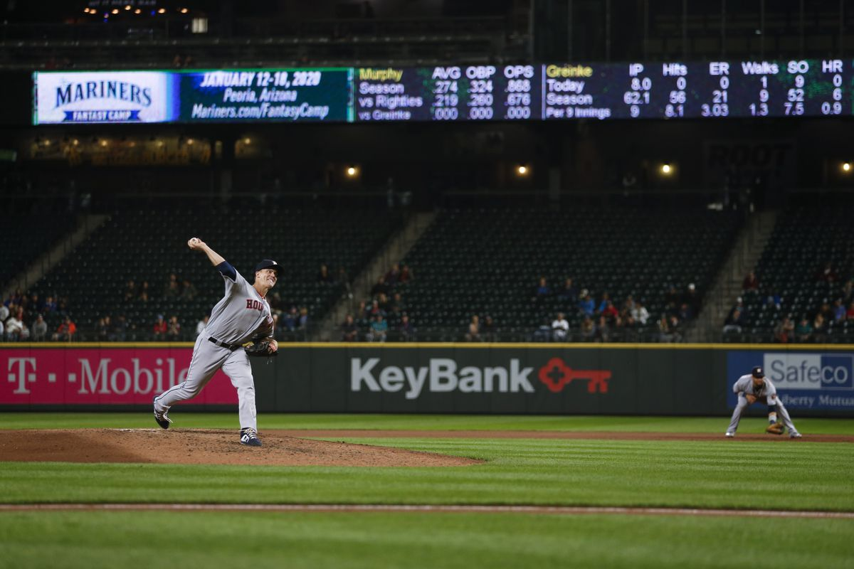 Houston Astros starting pitcher Zack Greinke throws against the Seattle Mariners during the ninth inning at T-Mobile Park.