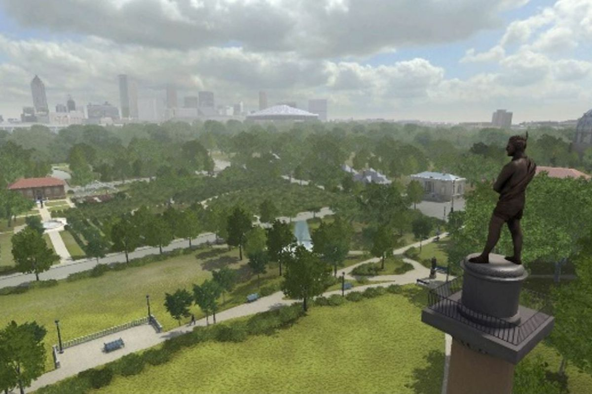 The skyline of Atlanta stands to the east, with the column — topped by Chief Tomochichi — offers a view.