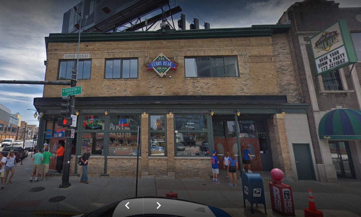 The outside of a two-story sports bar in Chicago.