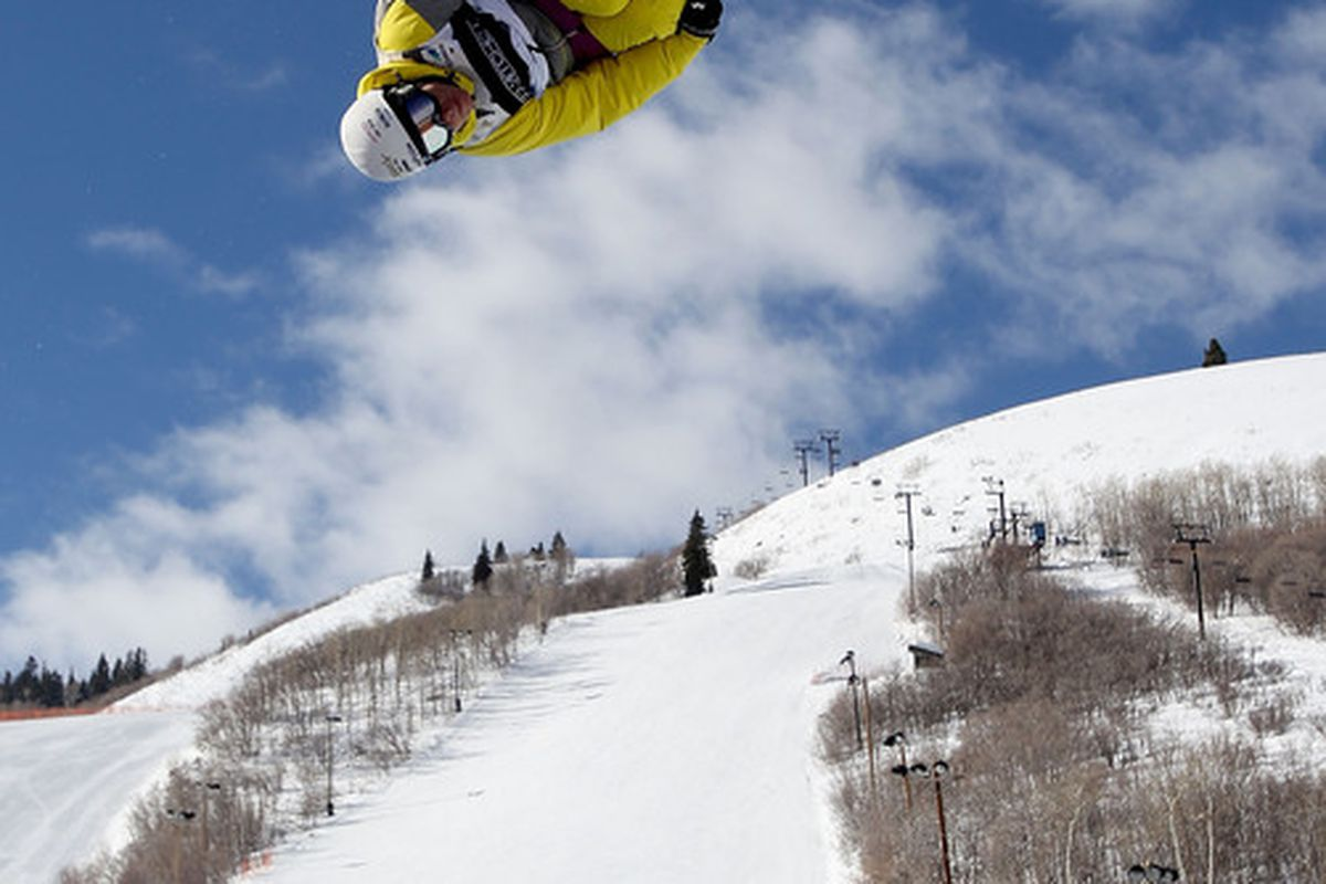 PARK CITY UT - FEBRUARY 04:  Benoit Valentin of France competes in the Men's Half Pipe Qualification for the FIS Freestyle World Championships at Park City Mountain Resort on February 4 2011 in Park City Utah.  (Photo by Ezra Shaw/Getty Images)