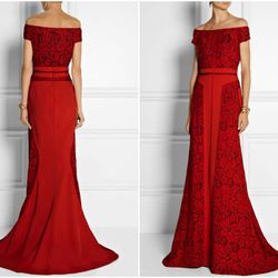 """<b>J Mendel</b> Paneled Lace and Crepe Gown, <a href=""""http://www.net-a-porter.com/product/446555/J_Mendel/paneled-lace-and-crepe-gown"""">$5,900</a> at Net-a-Porter"""