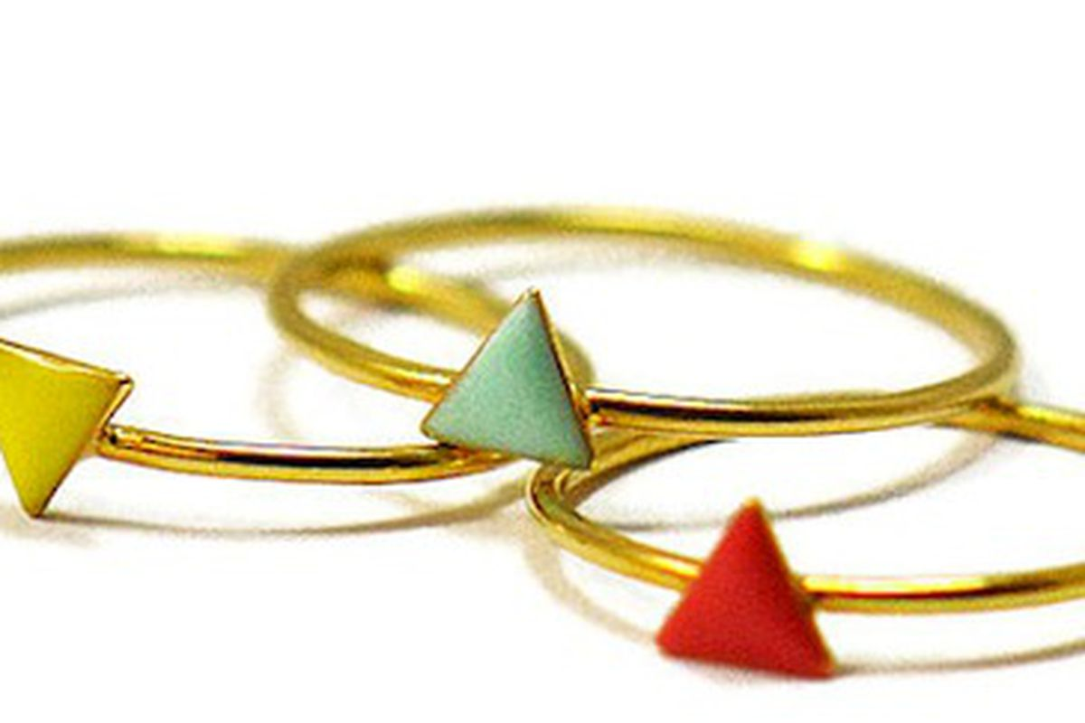 """Stackable triangle rings from <a href=""""http://www.etsy.com/listing/107975890/1-tiny-triangle-ring-dainty-ring?ref=shop_home_active"""">Virginie Millefiori</a>/Etsy"""