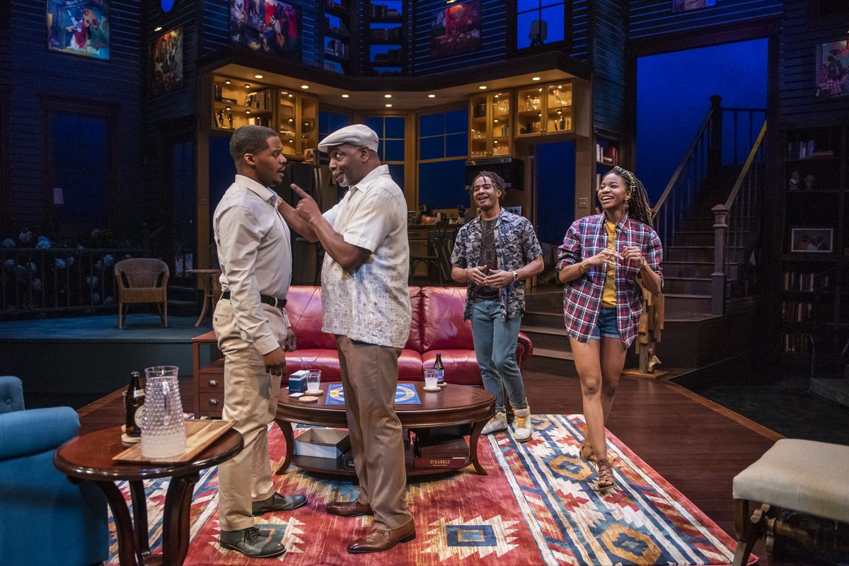 """DiMonte Henning (from left), David Alan Anderson Anderson, Eric Gerard, and Jennifer Latimore star in the Writers Theatre production of """"Stick Fly."""""""