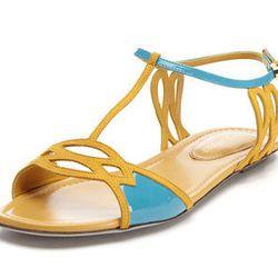 "<span class=""credit""><b>Sergio Rossi</b> Cutout Colorblock Sandal—Originally: $595, Sale Price: $119</span><p>"