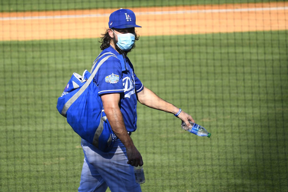 Los Angeles Dodgers pitcher Tony Gonsolin (46) looks on during a summer workout in preparation for a shortened MLB season during the coronavirus (COVID-19) pandemic on Thursday, July 9, 2020 at Dodger Stadium in Los Angeles, California.