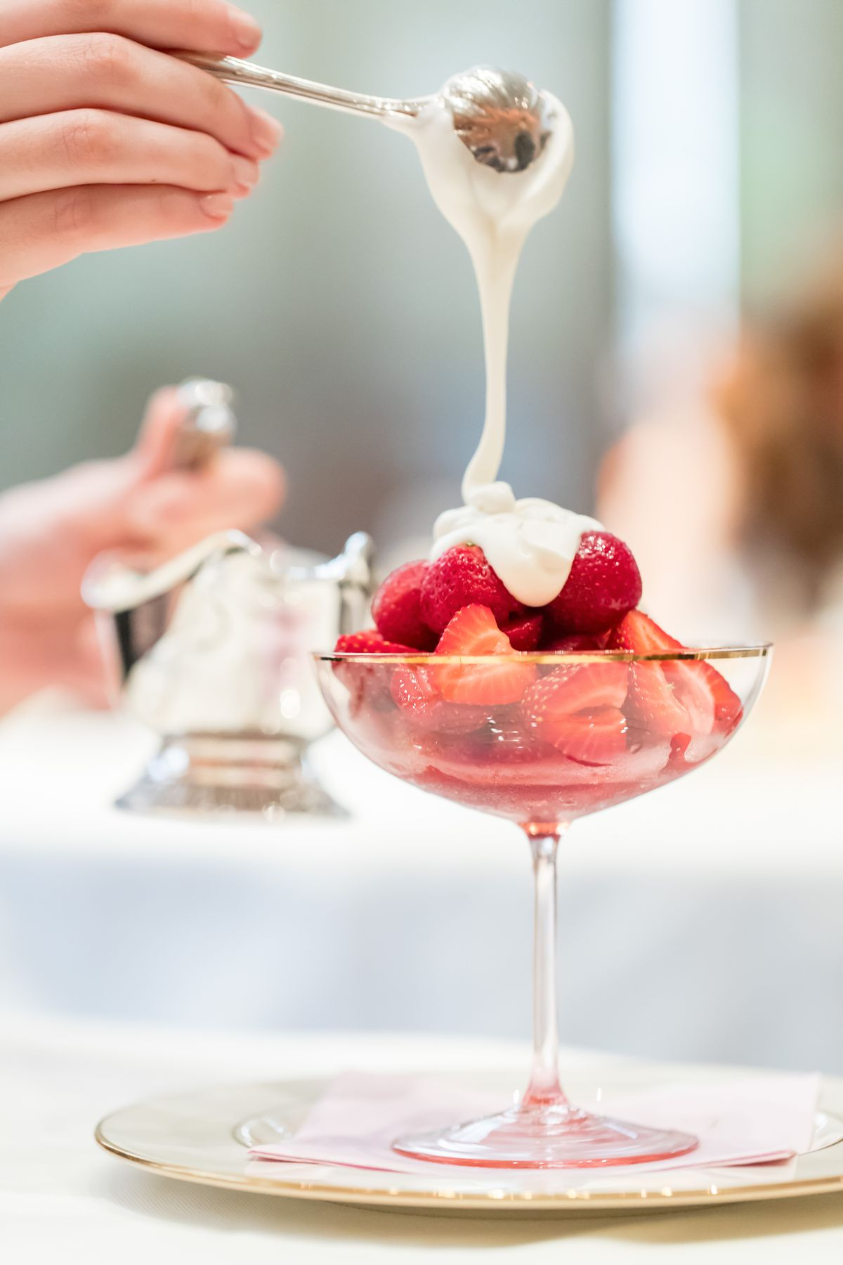 Macerated strawberries with coconut cream