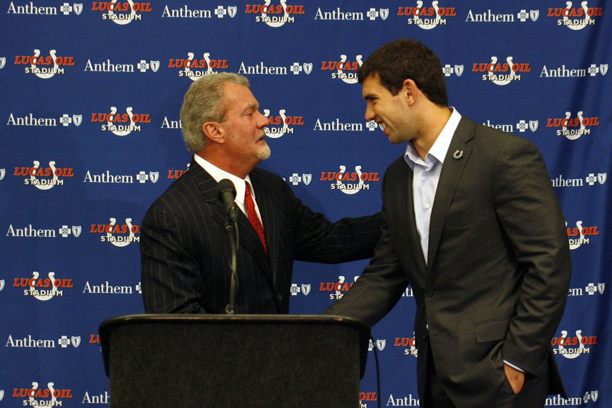 Apr 27, 2012; Indianapolis, IN, USA; Indianapolis Colts quarterback and number one overall draft choice Andrew Luck (right) greets owner Jim Irsay to a press conference at Lucas Oil Stadium. Mandatory Credit: Brian Spurlock-US PRESSWIRE