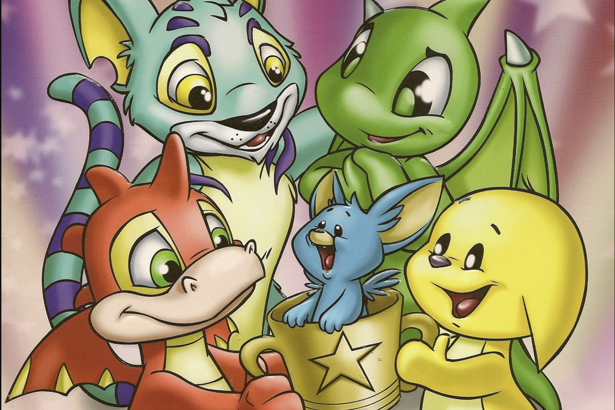 A group of four Neopets and a baby petpet.