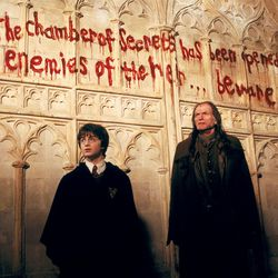 """Harry Potter (Daniel Radcliffe) and Angus Filch (David Bradley) see the writing on the wall in Warner Bros. Pictures' """"Harry Potter and the Chamber of Secrets."""""""