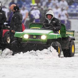 The field is plowed prior to the Ravens-Vikings game