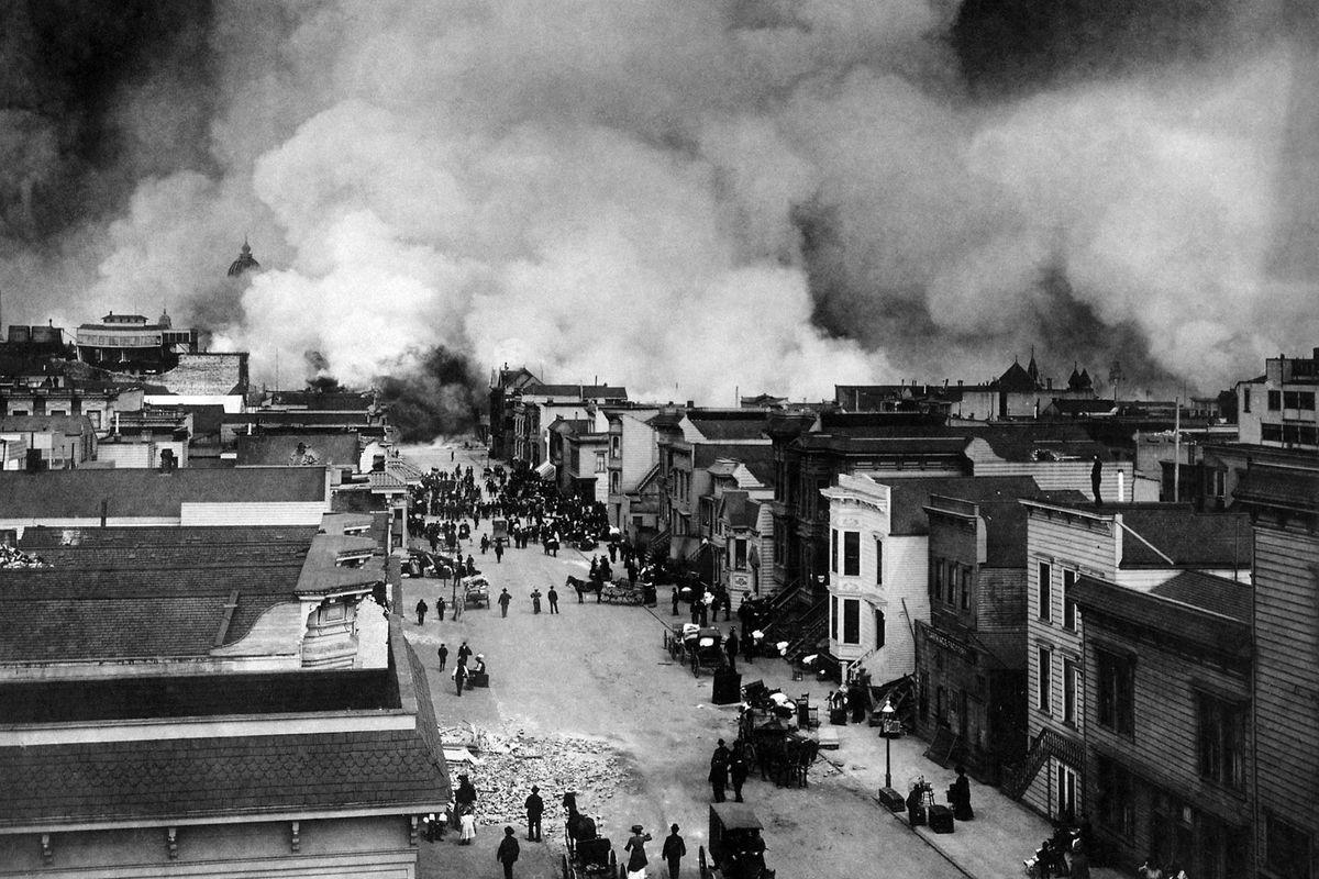 Plumes of smoke on the horizon during the 1906 earthquake.