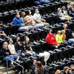 Fans watch the Jazz play at Vivint Smart Home Arena in Salt Lake City on Thursday, April 8, 2021.