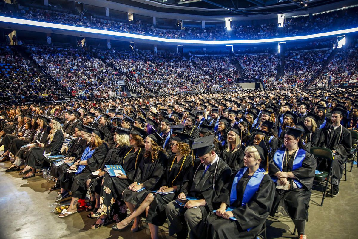 Salt Lake Community College graduates listen to speakers during the 2017 commencement ceremony at the Maverik Center in West Valley City on Friday, May 5, 2017.