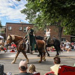 A renaissance group rides and walks during the Grand Parade in Provo on Monday, July 5, 2021.