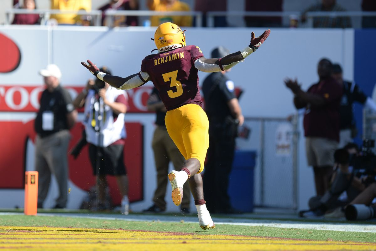 Arizona State Sun Devils running back Eno Benjamin celebrates a touchdown against the Washington State Cougars during the second half at Sun Devil Stadium.