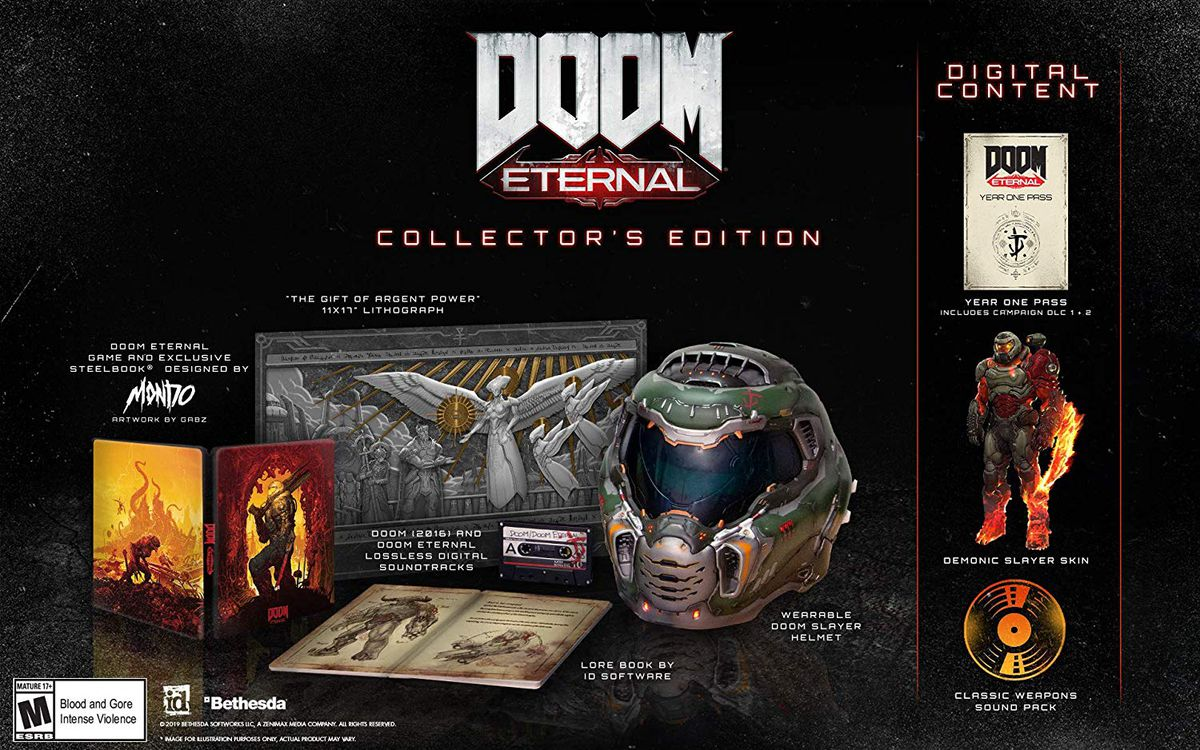 The components of the Doom Eternal Collector's Edition