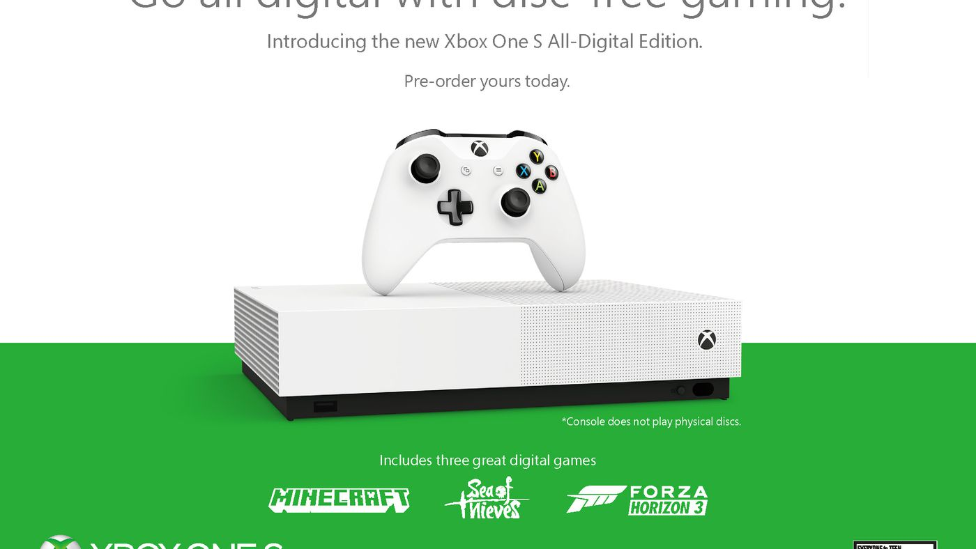 Microsoft unveils disc-less Xbox One S All-Digital Edition