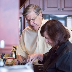 Ed and Carol Diener cook a quick breakfast at their home in Salt Lake City, Utah, on Monday, Aug. 28, 2017. Ed, a research psychologist, and Carol, a clinical psychologist, have applied principles of happiness and well-being to their family life and their lives together.
