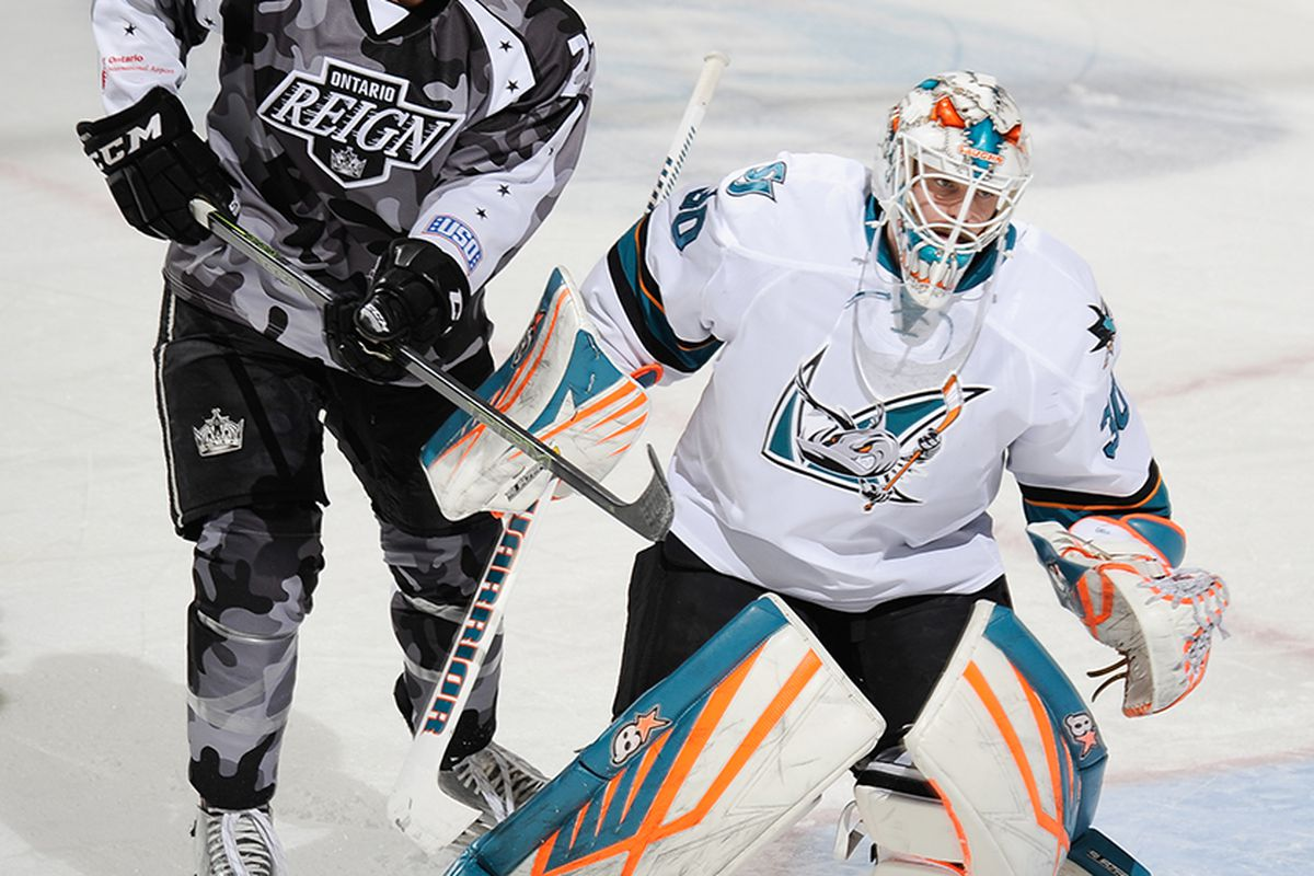 San Jose Barracuda goaltender Aaron Dell in action during the Barracuda's game against the Ontario Reign Wednesday night at Citizens Business Bank Arena. (SJBarracuda.com)