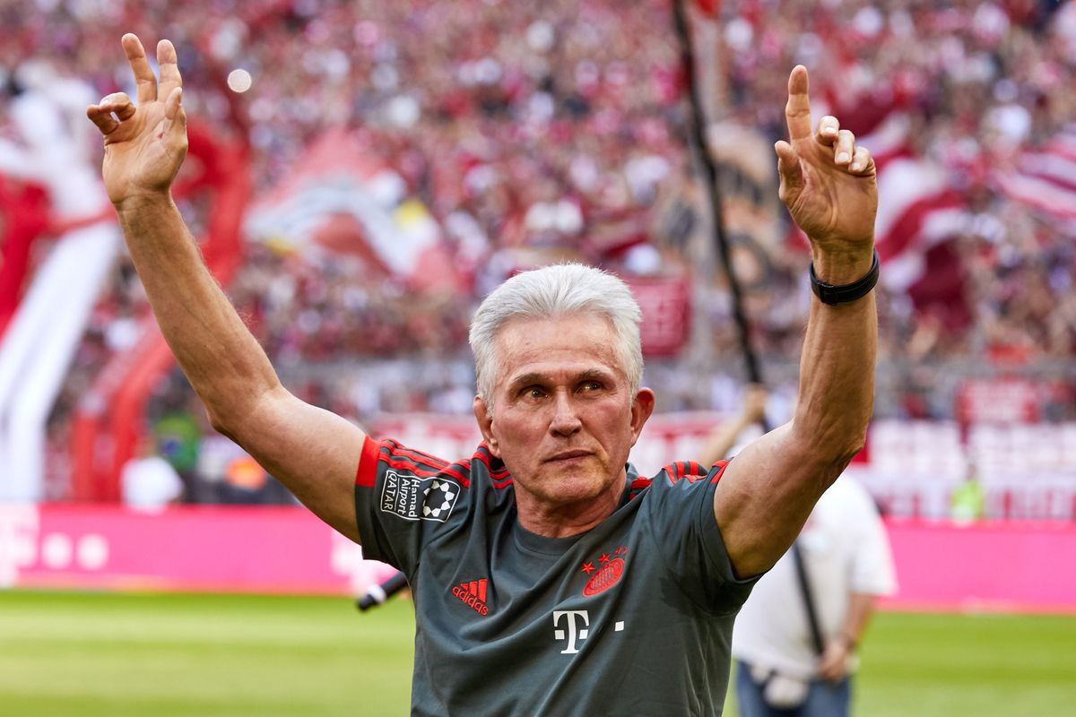 MUNICH, GERMANY - MAY 12: Head coach Jupp Heynckes of Muenchen says goodbye to their supporters after the Bundesliga match between FC Bayern Muenchen and VfB Stuttgart at Allianz Arena on May 12, 2018 in Munich, Germany.
