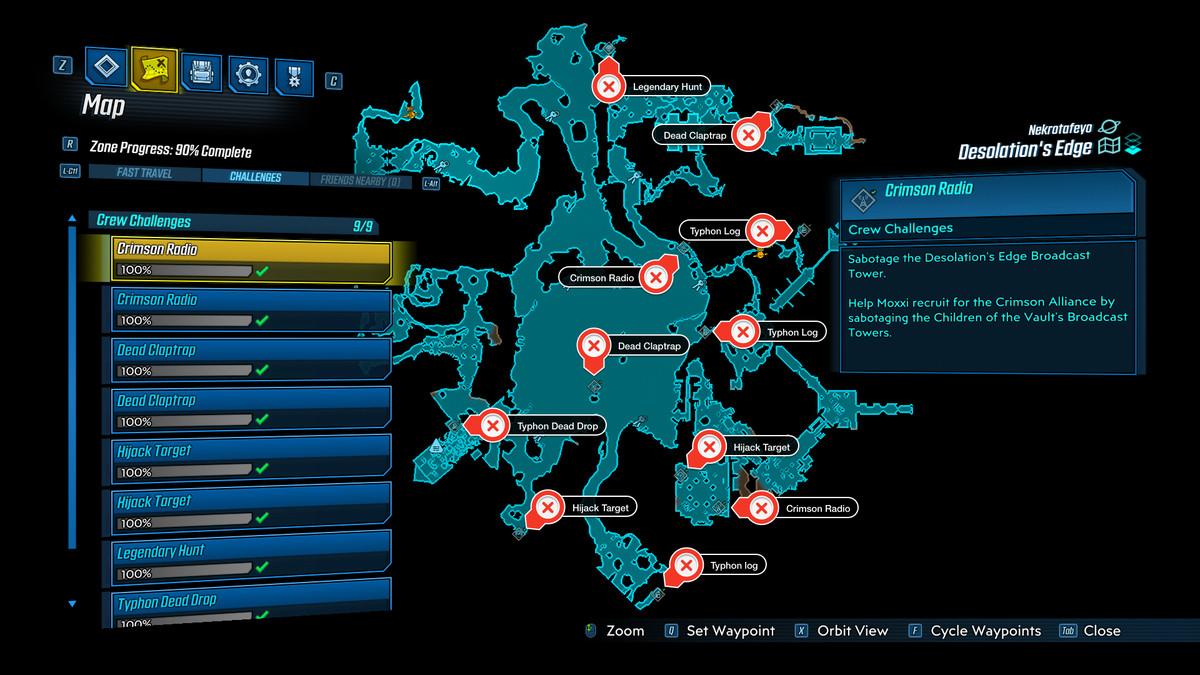 Borderlands 3 Desolation's Edge challenges map guide - Polygon