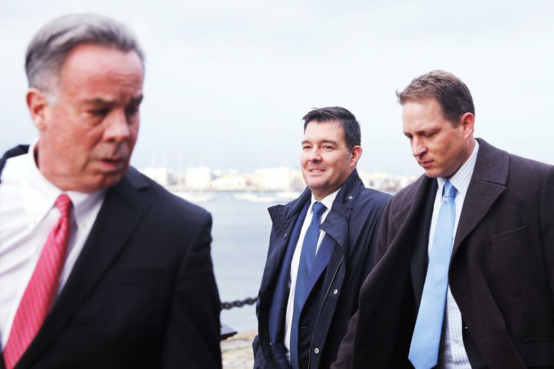 Former Insys CEO Michael Babich leaves federal court in Boston.