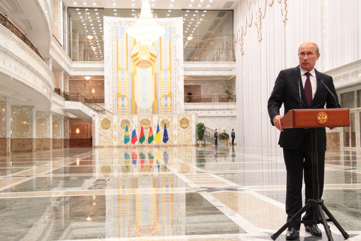 Russian President Vladimir Putin speaks in Minsk, Belarus