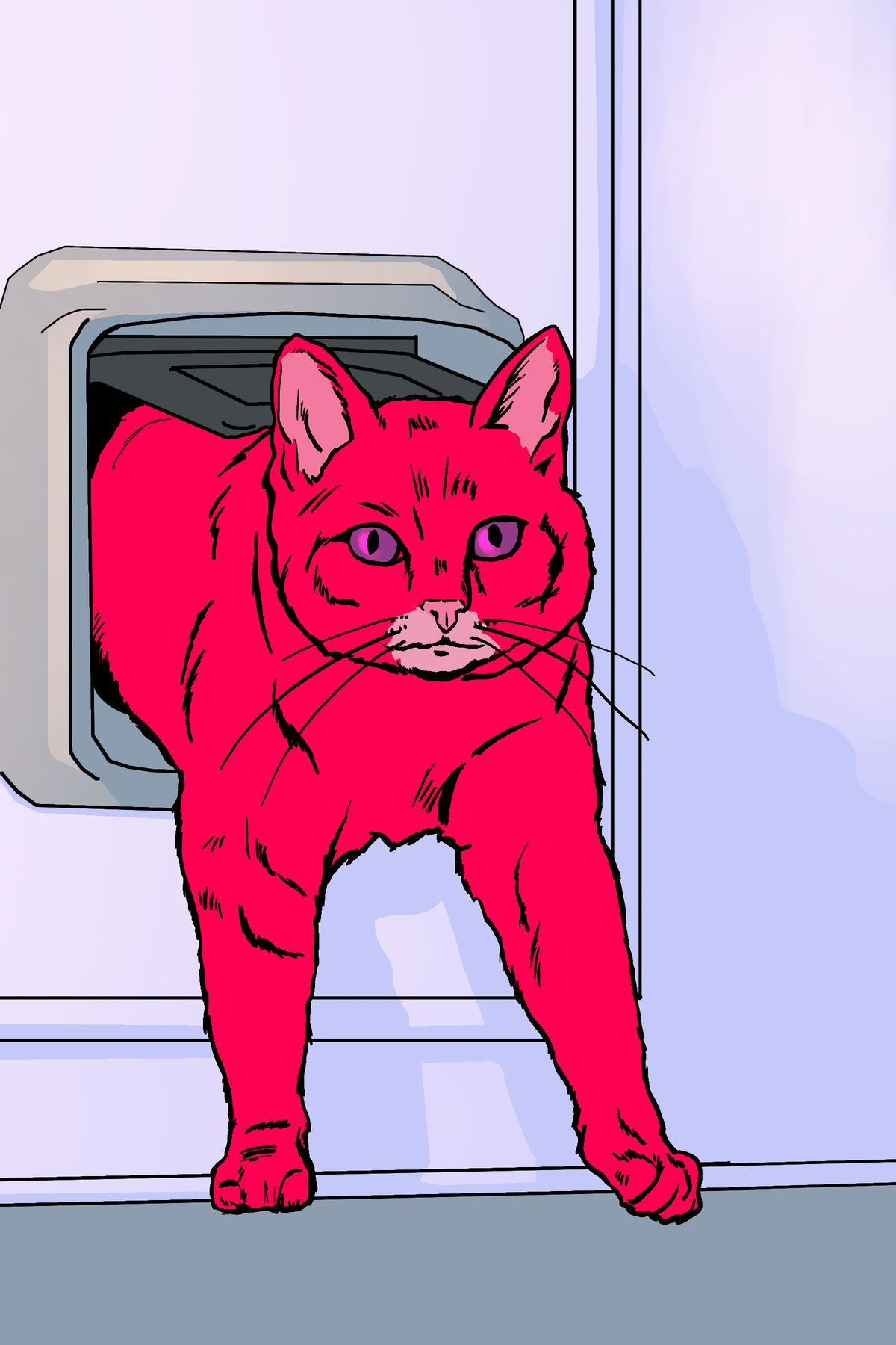 One determined pink cat emerges from the cat door on the other side.