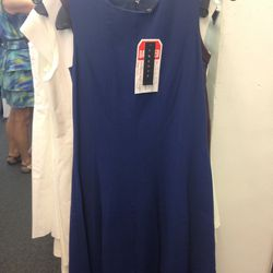 Blue theory dress with faulty zipper, $49