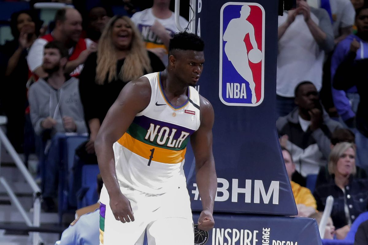 New Orleans Pelicans forward Zion Williamson reacts after scoring against the Milwaukee Bucks during the fourth quarter at the Smoothie King Center.