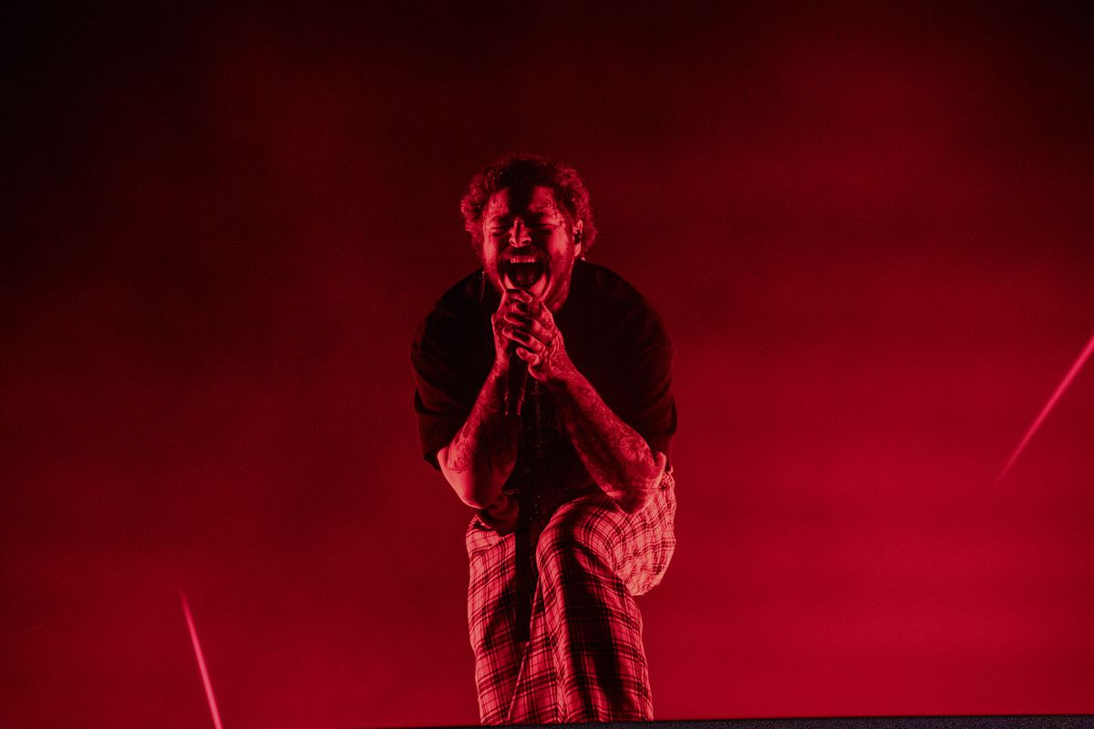 Post Malone performs at the Voodoo Music Experience in City Park on Sunday, Oct. 27, 2019, in New Orleans. (Photo by Amy Harris/Invision/AP)