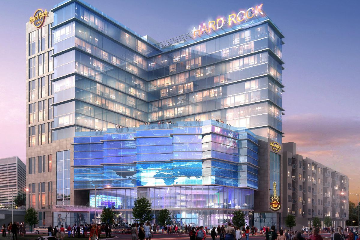 A newly released rendering of the Hard Rock Hotel project