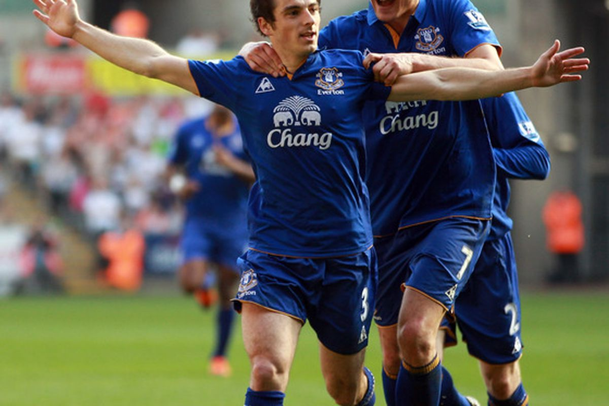 Leighton Baines of Everton celebrates after scoring with another wondrous freekick at the Liberty Stadium in Swansea, Wales.  (Photo by Richard Heathcote/Getty Images)