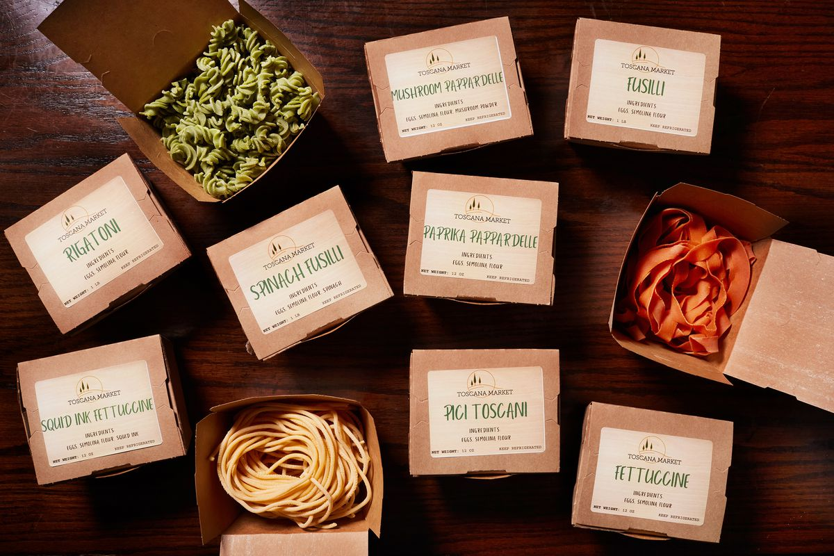 Green spinach fusilli and paprika red pappardelle are two of Toscana Market's colorful pastas