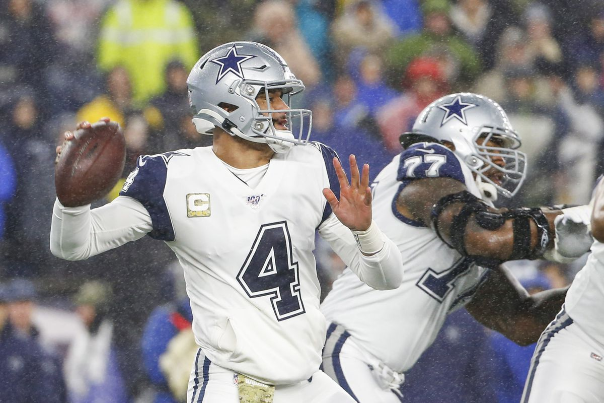 Dallas Cowboys quarterback Dak Prescott drops back to make a pass during the first half against the New England Patriots at Gillette Stadium.