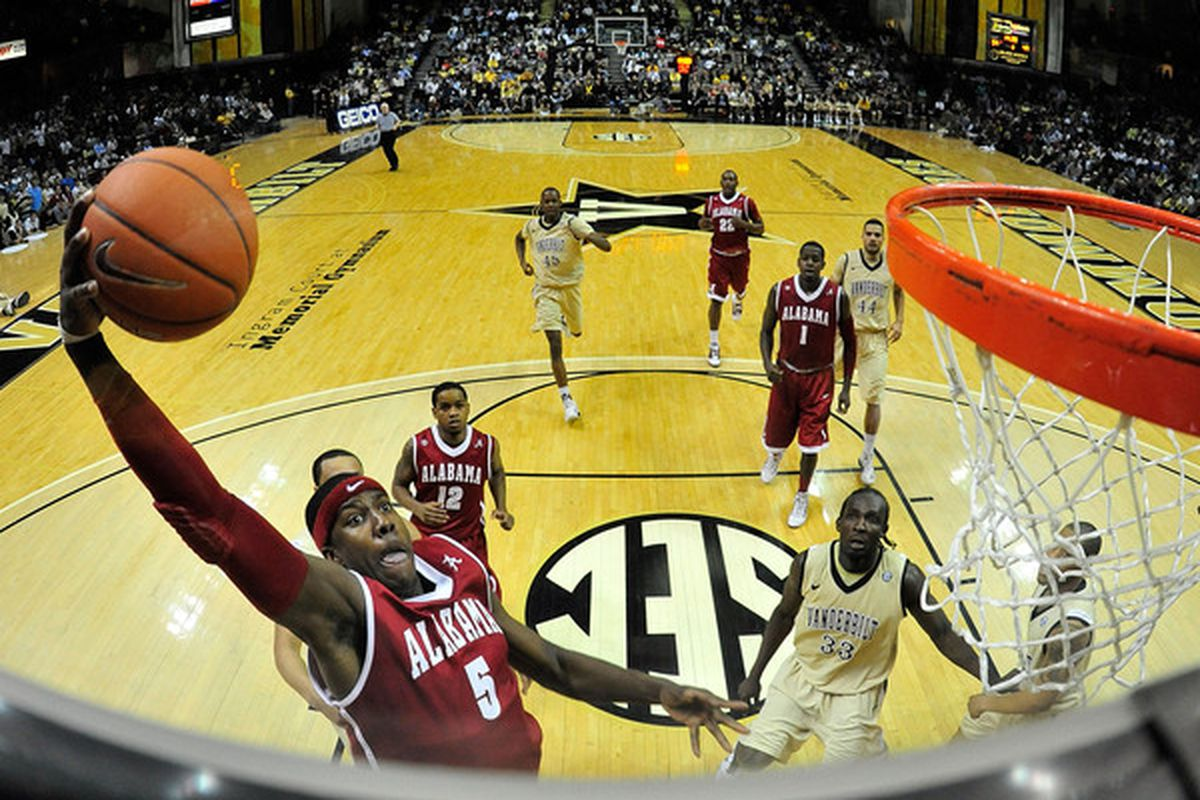 NASHVILLE TN - FEBRUARY 10:  Tony Mitchell #5 of the Alabama Crimson Tide drives in for a dunk against the Vanderbilt Commodores at Memorial Gym on February 10 2011 in Nashville Tennessee. Vanderbilt won 81-77. (Photo by Grant Halverson/Getty Images)