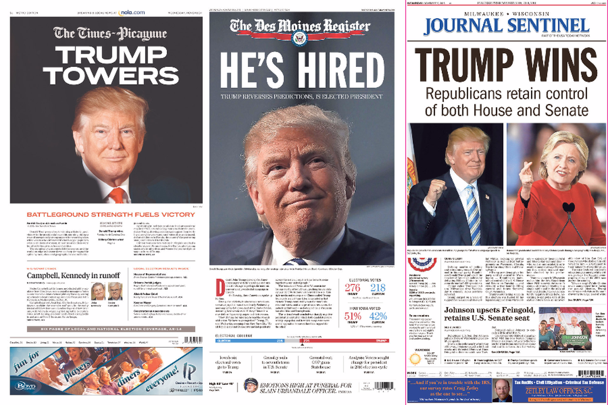 What front pages of US newspapers look like the morning ...