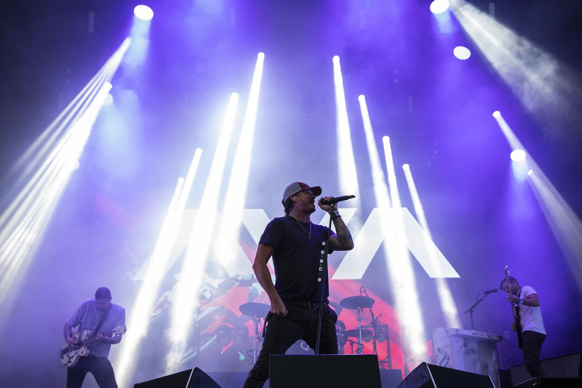 Angels & Airwaves perform Saturday evening at Lollapalooza in Grant Park.
