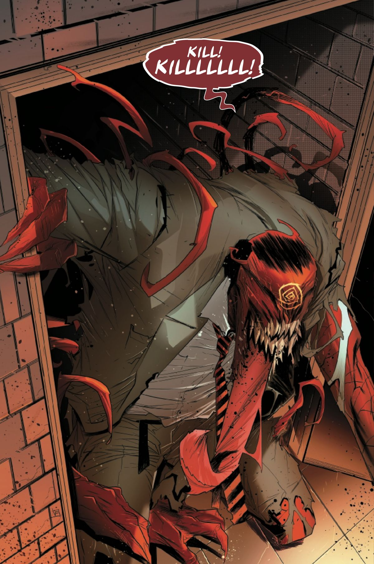 J. Jonah Jameson is transformed by a Carnage-controlled symbiote, into a slavering red symbiote monster in a business suit and tie, in Absolute Carnage: Miles Morales #3, Marvel Comics 92019).