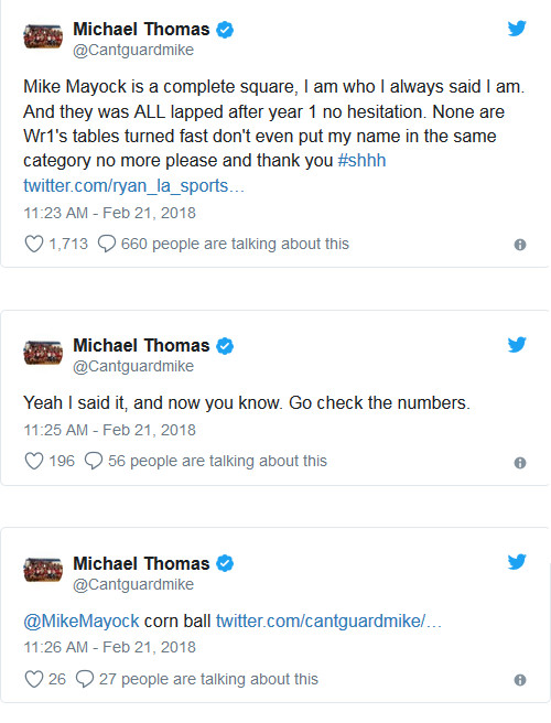 Tweets containing Michael Thomas's vengeful attacks on NFL Draft analyst Mike Mayock, who thought four or five other receivers were better.