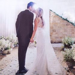 To get hitched to Willam Tell on September 13th, 2014, Lauren Conrad wore a bespoke Badgley Mischka Couture gown with lots of lace and embroidery.