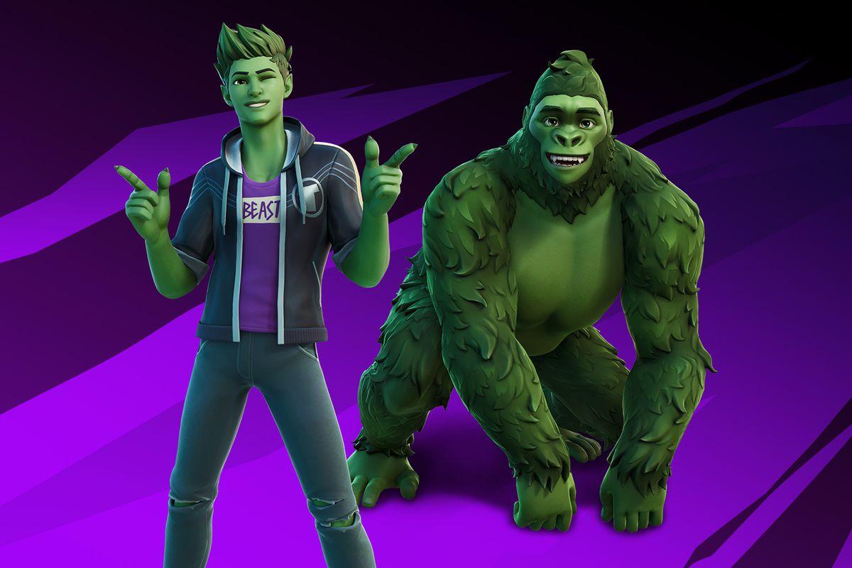 promotional image showing DC Comics' Beast Boy, alongside his gorilla form, in Fortnite