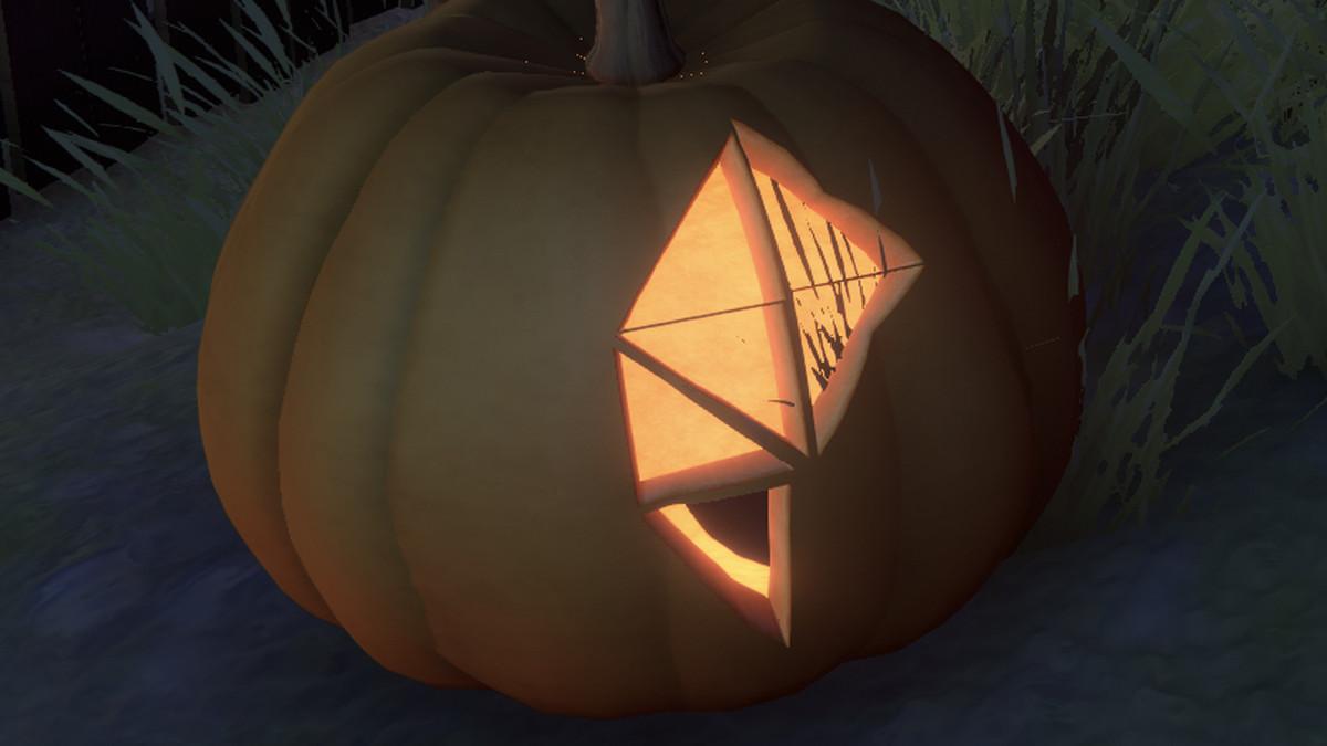 a pumpkin w the polygon logo