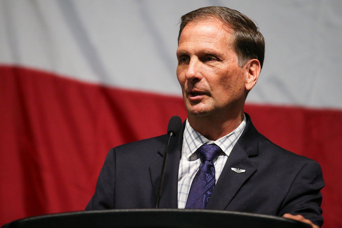 Rep. Chris Stewart, R-Utah, speaks during the Utah Republican Party's state convention at the South Towne Expo Center in Sandy on Saturday, May 20, 2017.