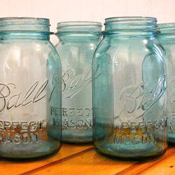 """Blue Mason jar, <a href=""""http://www.popcircumstanceshop.com/shop/blue-mason-jars"""">$11 at Pop & Circumstance</a>"""