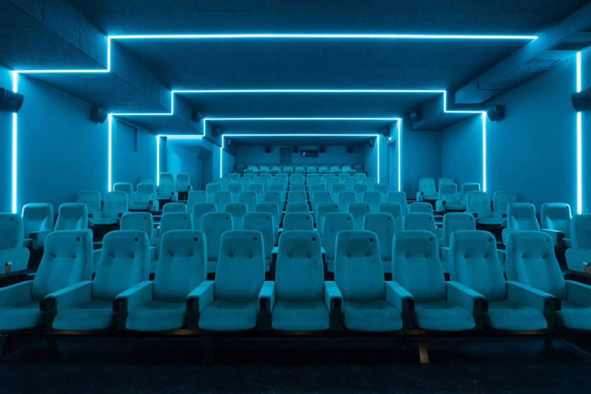 Blue theatre with fluorescent lights