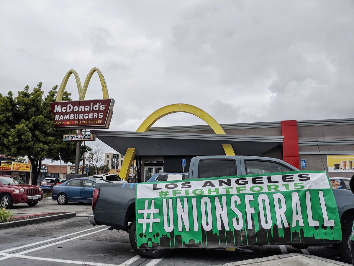 Union protest sign at South Los Angeles McDonald's on April 6, 2020