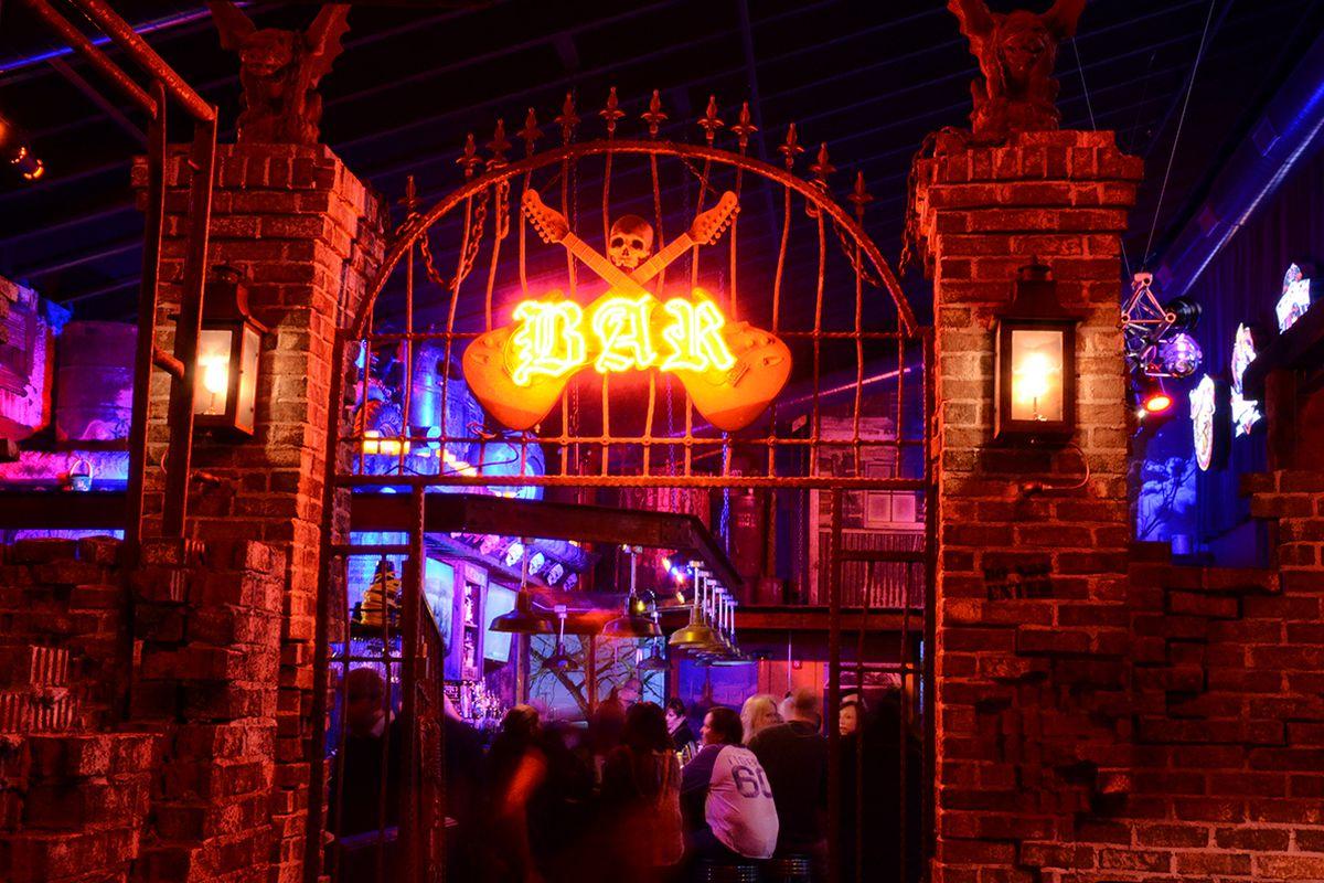 Gargoyles welcome you to The Rock's bar.