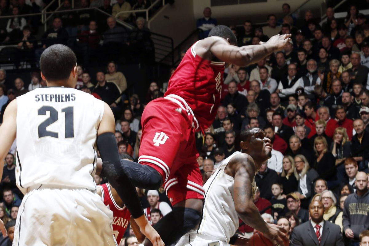 Here's Vonleh's third foul in the first half, arguably the genesis of IU's latest unraveling.