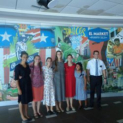 Puerto Rico San Juan Mission President David Smart poses at the San Juan airport on Saturday morning with the six sister missionaries sent home early because of the temporary suspension of mission work on the island. From left to right: Sisters Paulina Guevarra, Kassie Evelyn, Eliza Turner, Sarah Pearce, Ashley Paget, Claudisha Tirado-Arecibo.
